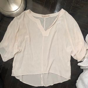 Zara medium sheer white blouse